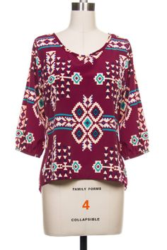High-Low Aztec Top In Burgundy - LaMaLu Boutique | Women's Online Clothing Boutique.  Perfect for gameday and on sale for $14.50!