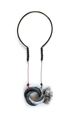 Kalina Filcheva - Parallel universes Necklace - industrial rope, steel, microfiber thread, waxed cord, rubber tubing, lava stone. – avec Kalina Filcheva Jewelry.