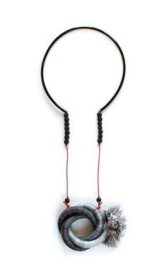 Kalina Filcheva - Parallel universes Necklace - industrial rope, steel, microfiber thread, waxed cord, rubber tubing, lava stone. – avec Kalina Filcheva Jewelry.