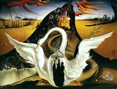 I've always loved this Swan stage design Salvador Dali created. Thought about getting it tattooed for a while. I like how aged and falling-to-ruin it looks.