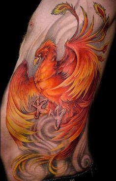 Phoenix Rib Tattoo.