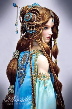 Heat-resistant fiber custom wig with difficalt design, made for order.  Wonderful arabian fantasy hairstyle for your doll. Lenght about 70 cm. The
