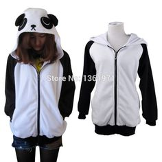 Free Shipping Autumn Winter Warm Women Men Plus Size Panda Anime Animal Hoodies With Ear Cosplay Costume Kigurums Coat Jacket