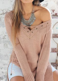 Sexy Double Slit V Neck Sweaters(2 Colors) on Luulla