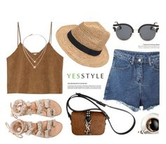 """YESSTYLE.com"" by monmondefou ❤ liked on Polyvore featuring Momewear, Goroke, Yves Saint Laurent, AORON, Gottex, Elina Linardaki and Michael Kors"