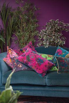 Purple Cushions, Teal Sofa, Floral Cushions, Colourful Cushions, Velvet Cushions, Cushions On Sofa, Colorful Interior Design, Colorful Interiors, Room Colors