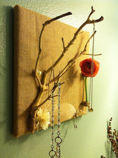 Burlap and Branch Jewelry Display with Bud Vase -great for Mother's Day Gift ideas! #burlap #mothersday #jewelryhanger