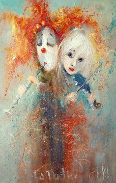 2 Дуэт (411x650, 68Kb) Small Paintings, Watercolor Paintings, Pierrot, Le Clown, Custom Wall Murals, Joker, Figurative Art, Love Art, Art Sketches