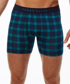 Look what I found on #zulily! Navy & Green Plaid Luxe Boxer Briefs #zulilyfinds