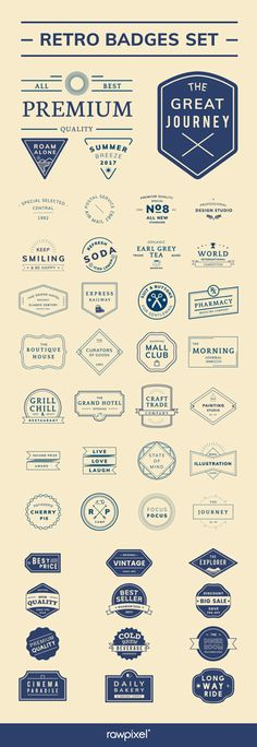 Check out Retro badge set board We give some of them FREE ! Be inspired by rawpixel.com