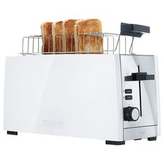 Graef White Gloss Four Slice Toaster Best 4 Slice Toaster, Kitchen Store, Kitchen Dining, Cool Toasters, Egg Timer, Types Of Bread, Breakfast Time, Industrial Chic, Simple