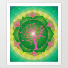 """4th Chakra Art Print. The Sanskrit name for the 4th chakra is """"Anahata."""" This word means """"unstruck"""" or """"stillness."""" This seems to imply that deep beneath our brokenness and pain, wholeness abides.  The 4th chakra is located in our heart center. It governs our intuition and love. It is also known as the heart chakra."""