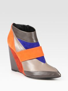 Pierre hardy Colorblock Leather and Suede Wedge Ankle Boots in ...