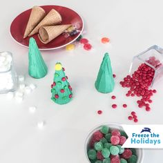 Freeze the Holidays Challenge: A very delicious DIY: build your own winter wonderland! All you need is frosting, ice cream cones and some candies!