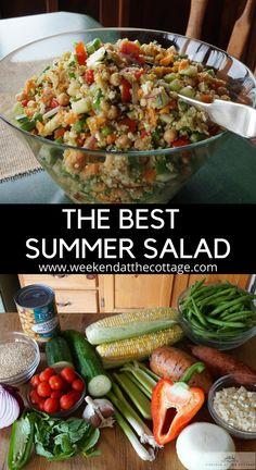 Best Salad Recipes, Summer Salad Recipes, Salad Dressing Recipes, Summer Salads, Veggie Recipes, Recipe For Vegetable Salad, Vegetarian Recipes, Healthy Recipes, Meal Salads