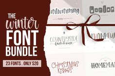 Winter Handwritten Font Bundle by KA Designs on DETAILS This winter font bundle is full of 23 handwritten fonts! TEN of which are BRAND NEW - not yet released in any of my shops! (At the time of this bundle release) Design Typography, Typography Fonts, Calligraphy Fonts, Modern Calligraphy, Handwritten Fonts, New Fonts, Winter Fonts, Logan, Handwriting Alphabet