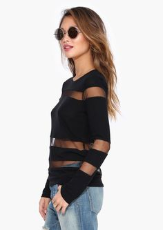 Mesh Sweater in Black//