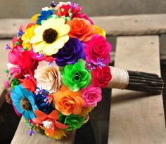 corn+husk+flowers+how+to+make | Rainbow Wooden Flowers Wedding Bouquet and Home Decoration ...
