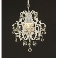 """Wrought Iron Crystal Chandelier Lighting, Country French White  -- This beautiful chandelier from the Versailles Collection uses 1 light (incl.). Decorated and draped with crystal, the frame is Wrought Iron. Its timeless elegance is sure to lend a special atmosphere whereever its placed. H.14"""" X W.11"""" Free Shipping $79"""
