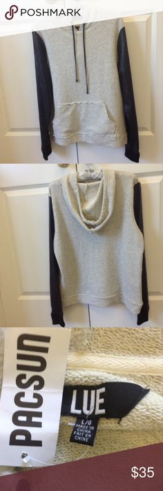 Pacsun  Hoodie SALE!!! Faux leather sleeves, very soft PacSun Tops Sweatshirts & Hoodies