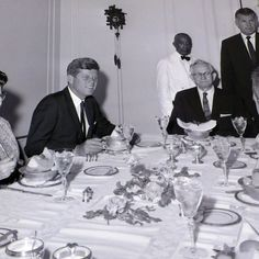 President John F. Kennedy eats with LDS Church President David O. McKay during a visit to Salt Lake City on Sept. 26, 1963. (Courtesy Utah State Historical Society)