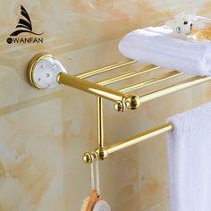 Luxury Bathroom Hardware luxury top-grade bathroom towel shelf wall mounted golden towel
