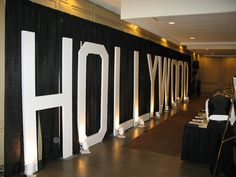 Hollywood letters with spotlights Love this!! perfect for the long wall