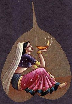 Indian Artwork, Indian Folk Art, Indian Art Paintings, Leaf Paintings, Krishna Painting, Madhubani Painting, Krishna Art, Mural Painting, Mural Art