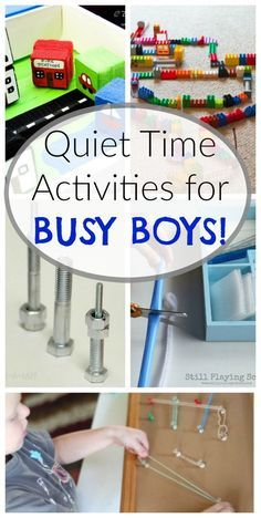 Quiet Time Activities for BUSY BOYS! The holidays can get really busy - keep little ones calm and settled with these Quiet Time activities! These quiet time activities are perfect for BUSY BOYS! Quiet Time Activities, Kids Learning Activities, Infant Activities, Indoor Toddler Activities, Learning Activities For Toddlers, Activities For 4 Year Olds, Family Activities, Toddler Play, Toddler Learning