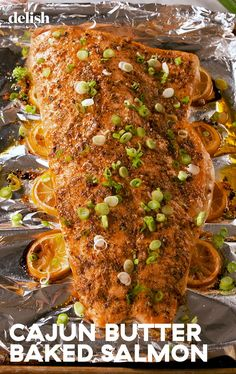 Cajun Butter Salmon Deserves A Trip To The Bayou Delish. Cajun butter baked salmon is an instant classic. Baked Salmon Recipes, Cajun Recipes, Fish Recipes, Seafood Recipes, Dinner Recipes, Cooking Recipes, Healthy Recipes, Recipies, Fish Dinner