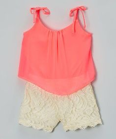 Love this Neon Coral & White Lace Layered Romper - Toddler & Girls on #zulily! #zulilyfinds