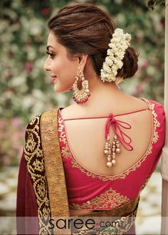 Stunning and amazing . A brief look into world of deep back blouse designs Stunning and amazing . A brief look into world of deep back blouse designs Fancy Blouse Designs, Sari Blouse Designs, Saree Blouse Patterns, Bridal Blouse Designs, Pink Saree Blouse, Lehenga Hairstyles, Indian Hairstyles, Hairstyles Videos, Bridal Hairstyles