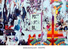 Post No Bills Sign Pasted Over Peeled Posters Creating Abstract ...