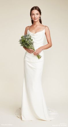 Nicole Miller 2018 Wedding Dresses A draped cowl neckline suspended with thin spaghetti straps give this figure flattering silk bridal gown a sophisticate silhouette. This gown is finished with an open back and decorative covered buttons for closure. Slip Wedding Dress, Western Wedding Dresses, Classic Wedding Dress, Bohemian Wedding Dresses, Perfect Wedding Dress, Bridal Dresses, Wedding Gowns, Simple Elegant Wedding Dress, Simple Dresses