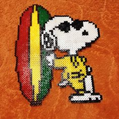 Snoopy surf - Peanuts perler beads by achiya928