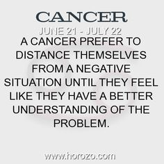Fact about Cancer: A Cancer prefer to distance themselves from a negative... #cancer, #cancerfact, #zodiac. Cancer, Join To Our Site https://www.horozo.com You will find there Tarot Reading, Personality Test, Horoscope, Zodiac Facts And More. You can also chat with other members and play questions game. Try Now!