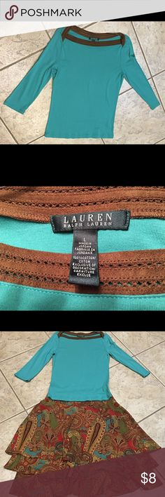Ralph Lauren green top w/ brown trim Green top w/ brown trim  100% cotton. Machine was cold. Tumble dry low. 3rd pic shows skirt this top was worn with. Sold separate. Ralph Lauren Tops