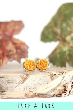 These pumpkin pie druzy stud earrings are perfect for the Fall season.   #handmade #pumpkin #pie #druzy #stud #earrings #fall #jewelry #womens #style #ladies #fashion #autumn #jewellery #accessories #lakeandlark #orange #goldenyellow #circle #silver #glittery #sparkly #hypoallergenic #nickelfree