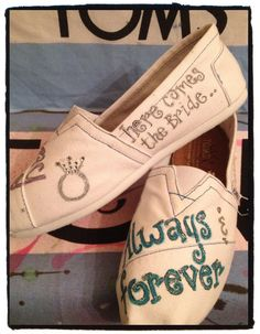 Wedding Custom Toms Shoes by CustomTOMSbyJC on Etsy, $100.00