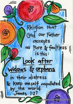 James 1:27 Care for Widows and Orphans Illustrated Watercolor Print
