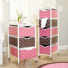 storage carts...maybe? minus the pink and polka dots of course :P