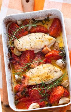 Baked Rosemary Chicken With Sweet Potatoes And Tomatoes
