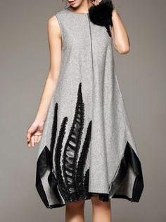 Gray Sleeveless Paneled Wool A-line Midi Dress