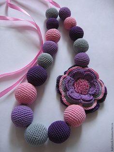 "Livemaster - original item Beads ""Brightness for summer"". Crochet Ball, Cotton Crochet, Thread Crochet, Crochet Crafts, Crochet Designs, Crochet Patterns, Crochet Beaded Necklace, Art Perle, Nursing Necklace"