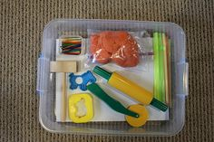 """Lots of """"busy box"""" ideas here to keep your kids near you but occupied while you're in the kitchen"""