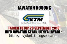 Jawatan Kosong di Keretapi Tanah Melayu Berhad (KTMB) - 29 September 2016  Jawatan kosong terkini di Keretapi Tanah Melayu Berhad (KTMB) September 2016. Permohonan adalah dipelawa daripada warganegara Malaysia yang berumur tidak kurang daripada 18 tahun ke atas pada tarikh tutup iklan jawatan dan berkelayakan untuk mengisi kekosongan jawatan kosong terkini di Keretapi Tanah Melayu Berhad (KTMB) sebagai : 1. HEAD OF LEGAL AND SECRETARIAL UNIT (CONTRACT BASIS)   2. LEGAL OFFICER   3…
