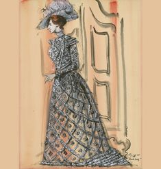 Barbra Streisand From the Leonard Stanley collection at the Academy, this costume design drawing depicts one of the many dazzling creations by Irene Sharaff worn by Barbra Streisand in the film. Victorian Gown, Victorian Hats, Edwardian Era, Hollywood Costume, Hollywood Fashion, Costume Design Sketch, Movie Costumes, Movie Props, Floral Gown