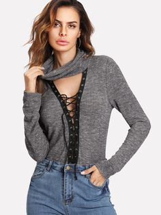 Shop Cowl Neck Plunging Lace Up Marled T-shirt online. SHEIN offers Cowl  Neck Plunging Lace Up Marled T-shirt   more to fit your fashionable needs. 30e93dbf629