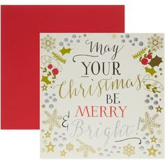 THINK OF ME 'May your Christmas be merry and bright!' Christmas card ($7.81) ❤ liked on Polyvore featuring home, home decor and stationery