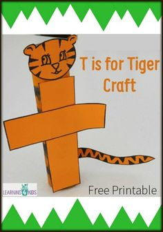 T is for Tiger Craft using a cardboard tube - Free Printable
